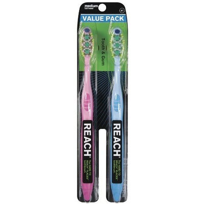 Reach Max Tooth & Gum Brush, Medium, Full head, Assorted Colors, 2 Count
