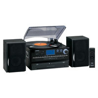 Jensen 3-Speed Stereo Turntable 2 CD System with Cassette and AM/FM Radio JTA-980B