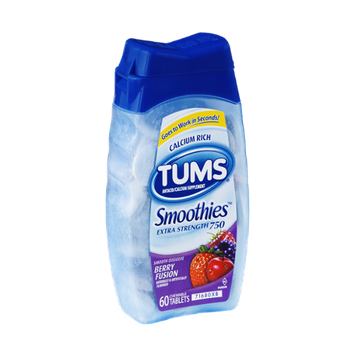 Tums Smoothies Extra Strength 750 Berry Fusion Antacid/Calcium Supplement Chewable Tablets - 60 CT