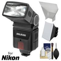 Precision Design DSLR300 High Power Auto Flash with Softbox + Bounce Diffuser Kit for Nikon D3100, D3200, D3300, D5100, D5200, D5300, D7000, D7100, D610 Digital SLR Cameras