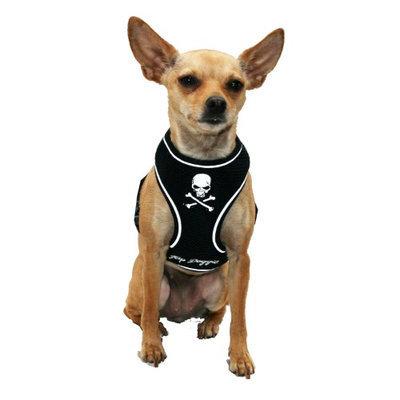Hip Doggie Black Skull Mesh Harness Vest, Size: XXXL