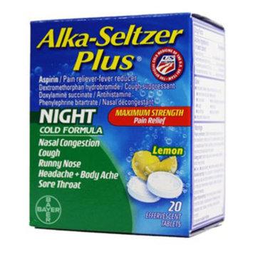 Alka-Seltzer Alka Seltzer Plus Night Cold - Effervescent Lemon Tablets, 20 ct