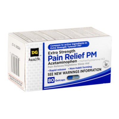 DG Health Extra Strength Pain Relief PM - Gelcaps, 80 ct