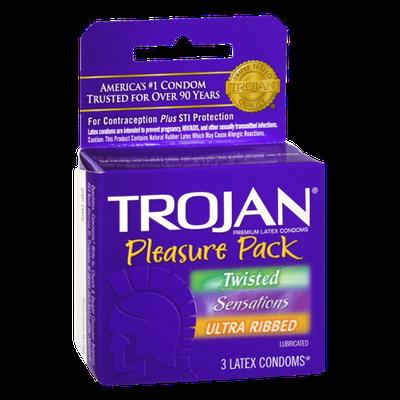 Trojan Pleasure Pack Lubricated Premium Latex Condoms - 3 CT