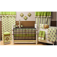 Bacati Mod Dots and Stripes 10-Piece Nursery in a Bag Crib Bedding Set, Green/Yellow/Chocolate