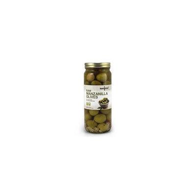 Raw Manzanilla Olives Sunfood 17 oz Glass Jar
