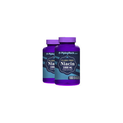 Piping Rock Flush Free Niacin 1000 mg 2 Bottles x 100 Coated Tablets