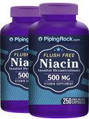 Piping Rock Niacin 500mg Flush Free 2 Bottles x 250 Capsules