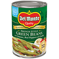 Del Monte® French Style Green Beans with Onion, Red Pepper & Garlic
