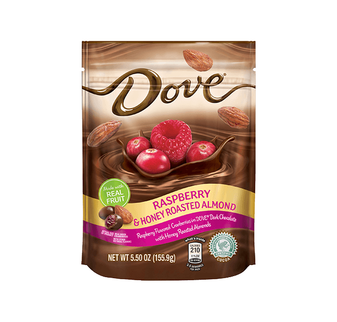 Dove Chocolate Raspberry Flavored Cranberries Dipped In Silky Smooth With Honey Roasted Almonds Stand Up Pouch