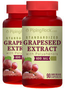 Piping Rock Grapeseed Extract 400mg 2 Bottles x 90 Capsules