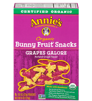 Annie's®  Homegrown Organic Bunny Fruit Snacks Grape