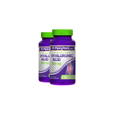 Piping Rock Hyaluronic Acid 100 mg 2 Bottles x 120 Capsules