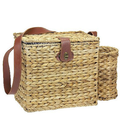 Household Essentials ML-6654 Banana Leaf Picnic Basket with Wine Cadd