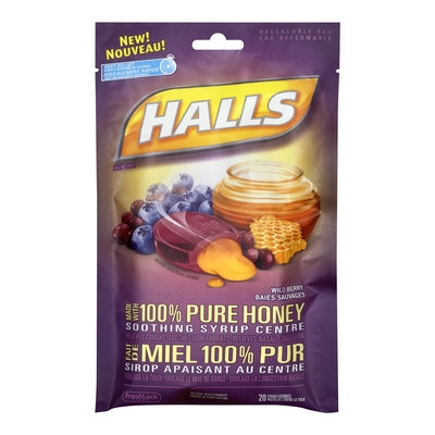 Halls Cough Drops, Wild Berry with 100% Pure Honey, 20 Drops