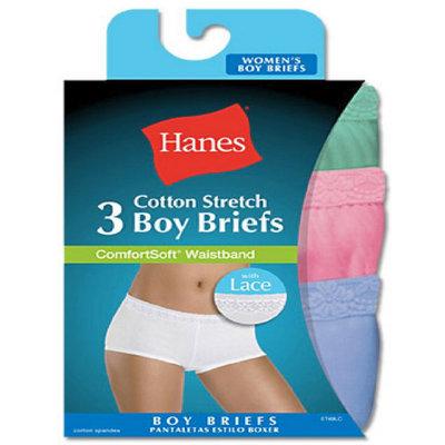 Hanes ET49LC Womens Cotton Stretch Lace Boy Briefs - Assorted - 5
