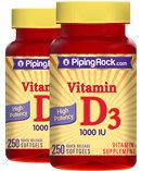 Piping Rock Vitamin D3 1000 IU 2 Bottles x 250 Softgels