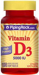 Piping Rock Vitamin D3 5000 IU 100 Softgels