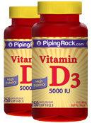Piping Rock Vitamin D3 5000 IU 2 Bottles x 250 Softgels