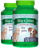 Piping Rock Hip & Joint for Dogs & Cats 2 Bottles x 120 Chewable Tablets