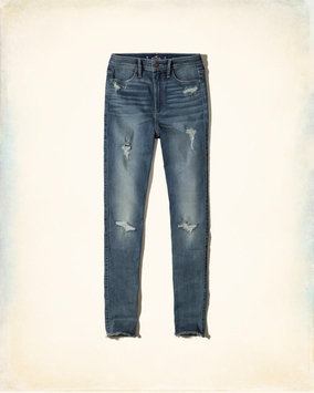 Hollister Ripped Medium Wash Ultra High-Rise Super Skinny