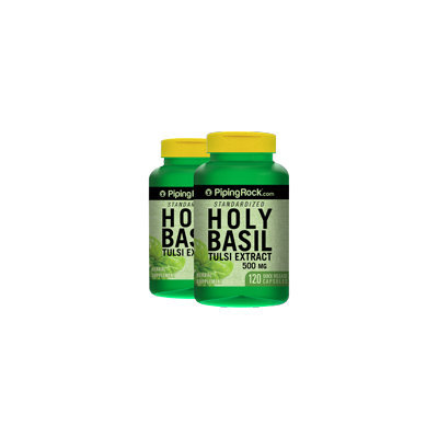 Piping Rock Holy Basil Extract 500 mg 2 Bottles x 120 Capsules