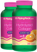 Piping Rock Hydrolyzed Collagen 1000mg 2 Bottles x 300 Caplets