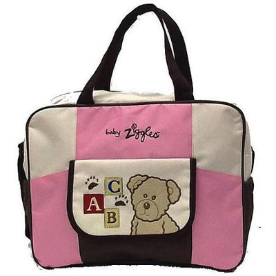 BABY ZIGGLES Smilly Doggy Diaper Bag, Pink