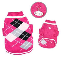 Klippo Pet, Inc Klippo Pet KSW101XL Argyle Pattern Turtleneck Sweater, Hot Pink - Extra Large