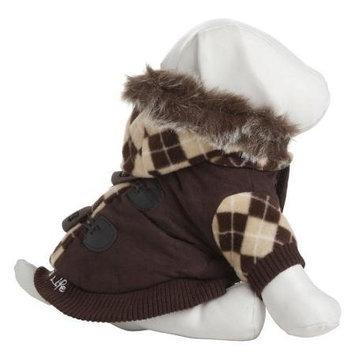 Pet Lift Pet Life Brown Argyle Suede Dog Coat LG