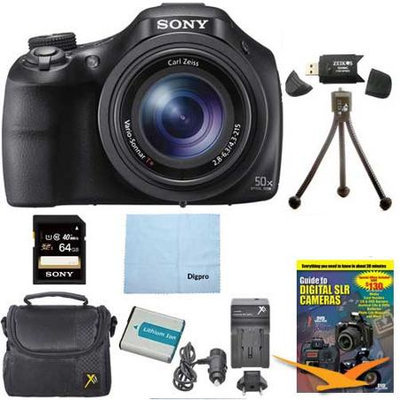 Sony DSC-HX400V/B 50x Optiical Zoom 4K Stills Digital Camera 64GB Kit