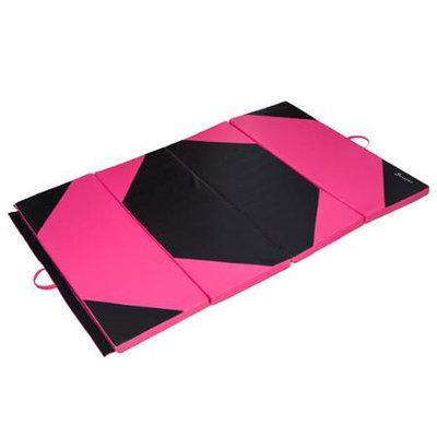 Soozier 4' x 6' x 2 PU Leather Gymnastics Tumbling / Martial Arts Folding Mat - Pink / Black Rhombus Pattern