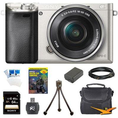 Sony Alpha a6000 24.3MP Silver Interchangeable Lens Camera w/ 16-50mm Zoom 64GB Kit