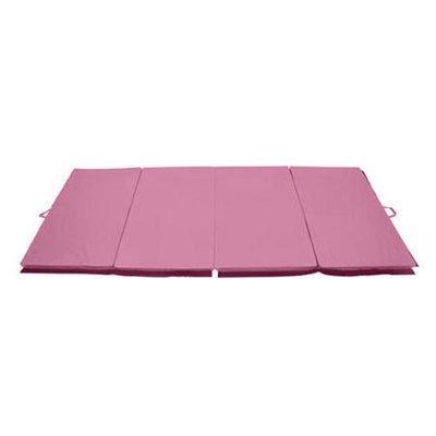 Soozier 4' x 8' x 2 PU Leather Gymnastics Tumbling / Martial Arts Folding Mat - Pink