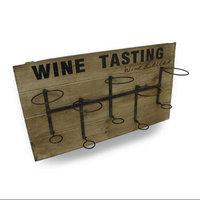 Zeckos Rustic Wood Plank Wine Tasting Hanging 5 Bottle Display