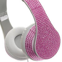 Crystal Case Foldable DJ Stereo Headphones w/ Hands-free Mic (Pink)