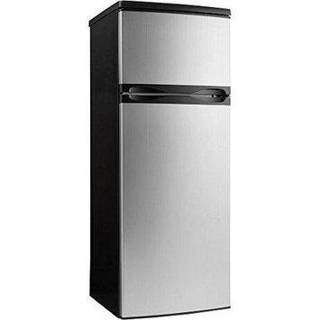 Danby Designer Series DPF073C1BSLDD 7.3 cu. ft. Top Freezer Refrigerator with 3 Adjustable Glass Shelves, 4 Door Bins, Produce Crisper, 1 Wire Freezer Shelf and Reversible Door Swing: Black with Stainless Steel Look