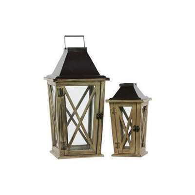 Urban Trends Wood Lantern with Cast Iron Top, Metal Handle and Glass Sides Set of Two Natural Wood Finish