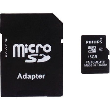 Philips Fm16ma45b/27 Microsdhc[tm] Card With Adapter & Pp Case [16GB, Class 10]