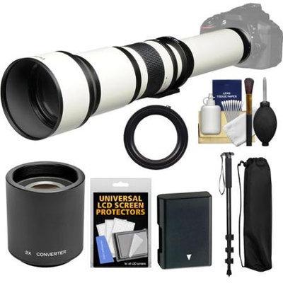 Vivitar 650-1300mm f/8-16 Telephoto Lens (White) (T Mount) with 2x Teleconverter (=2600mm) + EN-EL14 Battery + Monopod + Kit