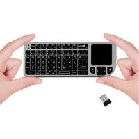 Favi Entertainment FAVI Mini Wireless Keyboard with Mouse Touchpad - Wireless - RF - Silver - USB 3.0TouchPad - Computer - QWERTY - Laser Pointer Built-in
