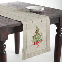 Saro Christmas Tree Design Embroidered Table Topper or Table Runner