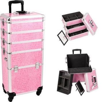 Just Case Sunrise I3361CRPK Pink Crocodile Trolley Makeup Case