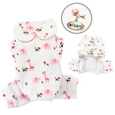 Klippo Pet, Inc Klippo Pet KBD060XL Knit Cotton Pajamas With Giraffe, Monkey & Elephant Print
