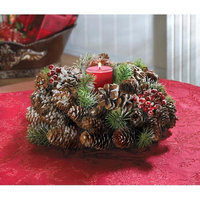 Frosted Pine Cone Wreath Candleholder Centerpiece 11.5