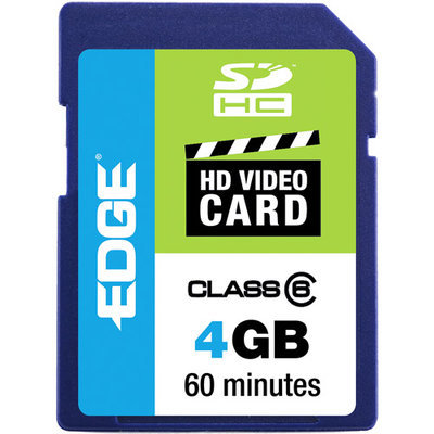 Edge Memory Edge 4GB SDHC HD Video Card, Class 6 PE222581