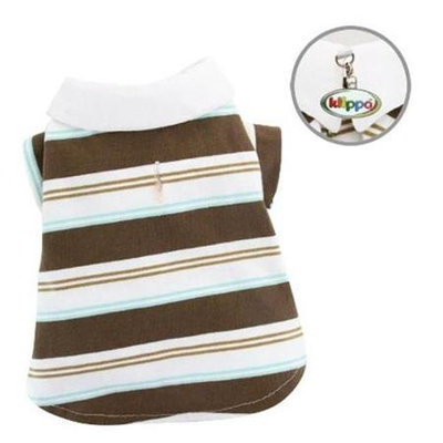 Klippo Pet, Inc Klippo Pet KTP042XS Knit Cotton Earthy Stripes Polo Shirt - Extra Small