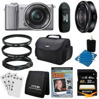 Sony a5000 Compact Interchangeable Lens Camera Silver 16-50mm & 20mm F2.8 Lens Bundle