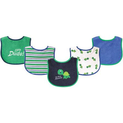 Baby Vision Luvable Friends 5 Pack Drooler Bibs - Turtle