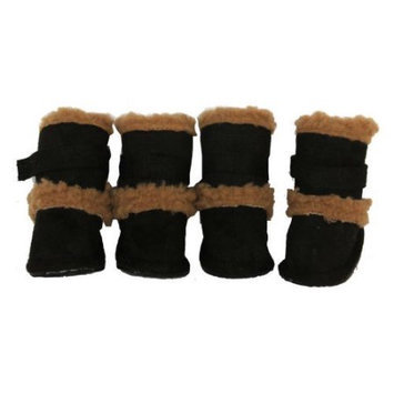 Pet Life Llc Pet Life Black Shearling Duggz Dog Boots MD
